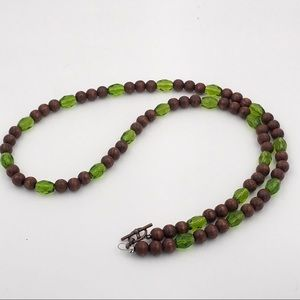 Handmade Vintage Brown Green Glass Bead Necklace